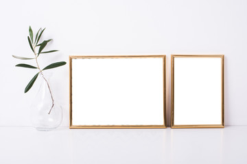 Two golden frames mock-up
