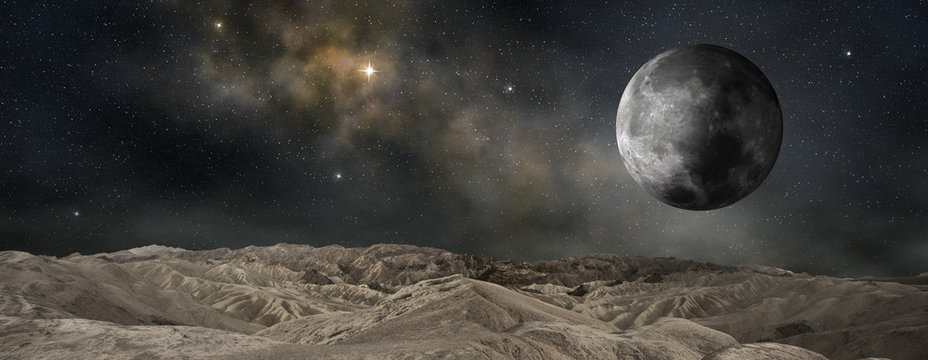 lunar satellite of an outer planet, 3d illustration