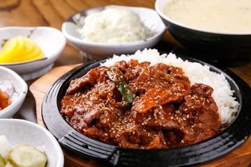 Jeyuk deopbap. Spicy Stir-fried Pork with Rice