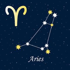 constellation Aries zodiac horoscope astrology stars night illustration vector