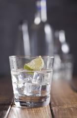 Vodka glass and bottles.