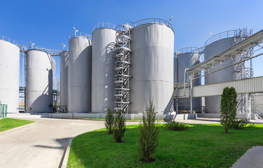 steel tanks at a chemical factory