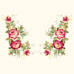 Red roses embroidery with leaves and buds. Ethnic flowers neck line, flower design, graphics fashion wearing. Embroidery for t-shirt.