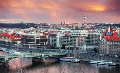 Prague architecture and Vltava river, Czech Republic