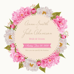 Wedding invitation card, save the date card, greeting card. Flower frame. EPS 10