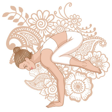 Women silhouette. Crane yoga pose. Bakasana