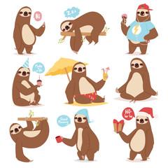 Laziness sloth animal character different pose like human cute lazy cartoon kawaii and slow down wild jungle mammal flat design vector illustration.