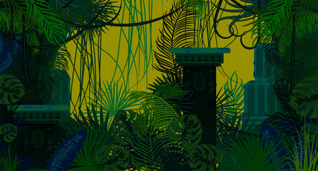 Abandoned ancient jungle nature background. Dark green and blue palm leaves, tree branches and mayan ruins vector.