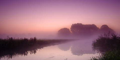 foggy morning landscape with beautiful colors