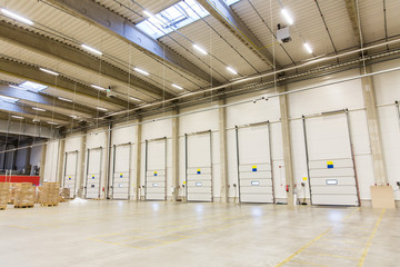 warehouse doors or gates and cargo boxes