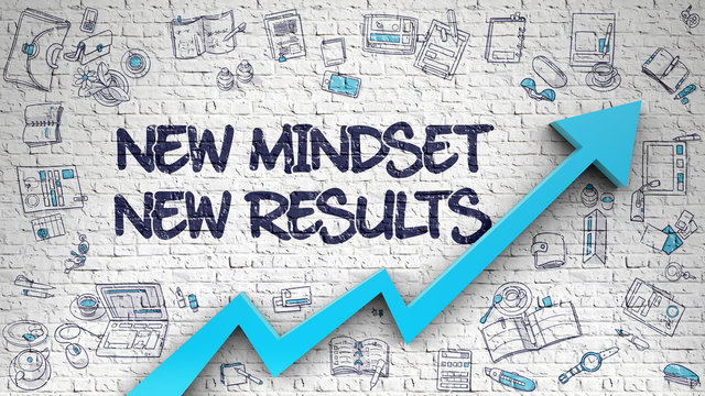 New Mindset New Results Drawn on White Brick Wall.