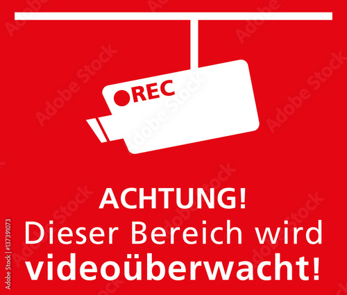symbol etikette achtung dieser bereich wird video berwacht in rot stock image and royalty. Black Bedroom Furniture Sets. Home Design Ideas