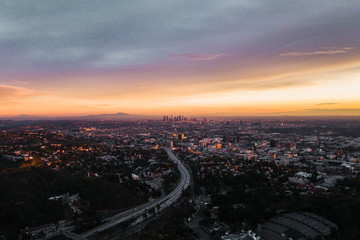 Los Angeles skyline by drone