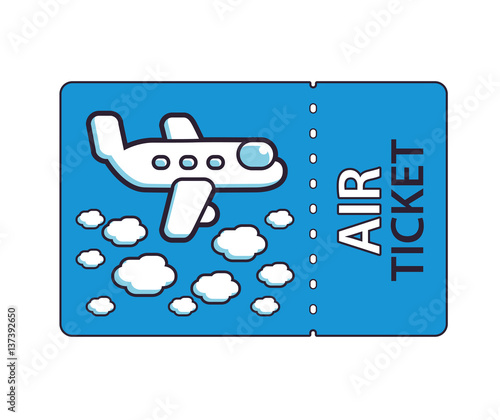Blue Air Ticket With A Jet Airplane Flying Above Clouds Illustration Boarding Pass Icon For