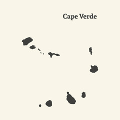 Outline map of Cape Verde. vector illustration.