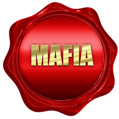 mafia, 3D rendering, red wax stamp with text