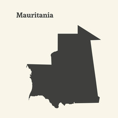 Outline map of Mauritania. vector illustration.