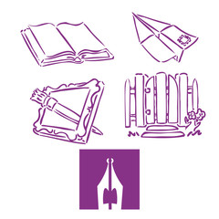 Several icons: an open book, a paper airplane with a postage stamp on it, a picture frame with a paint brush poking through it, a garden gate, a pen nib.