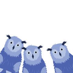 Three Owls on the white background. Hand drawn illustration.
