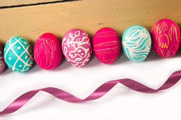 Closeup of beautiful Easter eggs. A festive mood.
