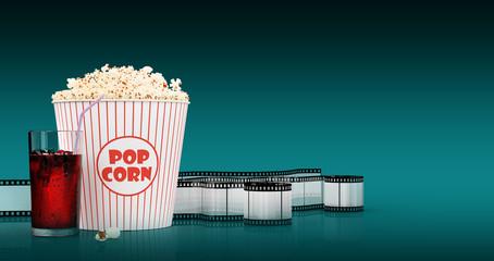 Popcorn and fast food drink. 3Drendering