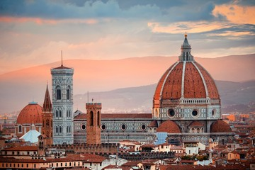 Aluminium Prints Florence Florence Cathedral skyline sunset