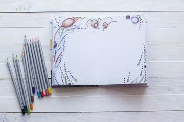 Pencils and paper notebook for creativity, art, notes and drawing on a white wooden background