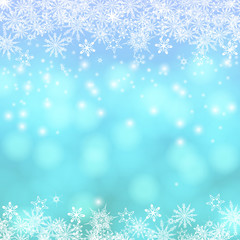 Vector card with Chrismas lights and snow