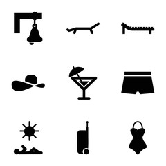 Set of 9 Summer filled icons