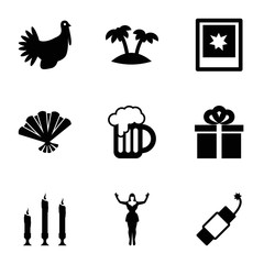 Set of 9 Party filled icons