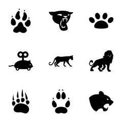 Set of 9 cat filled icons