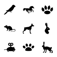 Set of 9 pet filled icons