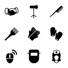Set of 9 professional filled icons