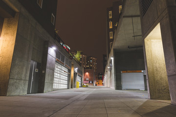 Buildings at night in Seattle