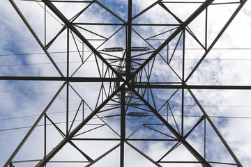 Underneath the electrical tower