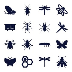Set of 16 insect filled icons