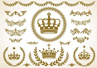 王冠、月桂樹、飾りセット