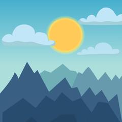 Mountain nature landscape vector illustration.