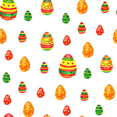 Seamless easter pattern with eggs on white background.
