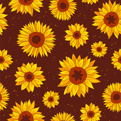 Vector pattern of sunflowers