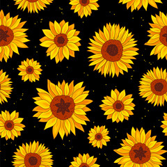 Seamless pattern of sunflowers