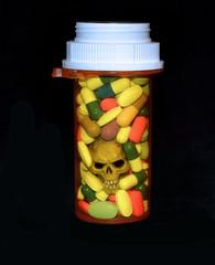 Skull in a bottle of prescription pills
