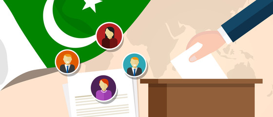 Pakistan democracy political process selecting president or parliament member with election and referendum freedom to vote