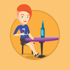 Woman drinking wine at restaurant.