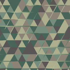 Khaki seamless pattern with triangular protection ornament and lines
