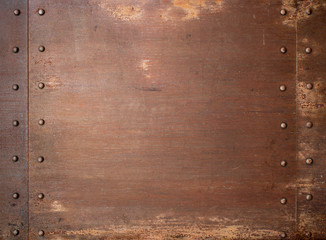 Wall Mural - Rusty metal steam punk background with rivets