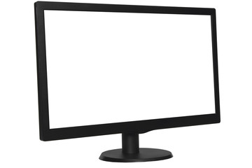black computer monitor on white background