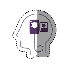 sticker silhouette profile human head with video camera vector illustration