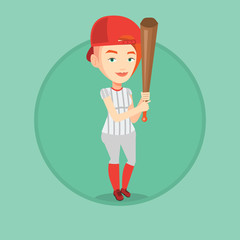 Baseball player with bat vector illustration.