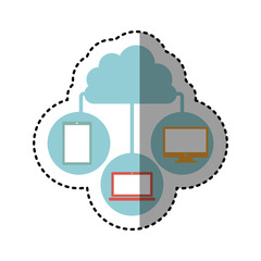 sticker cloud in cumulus shape connected to tech device vector illustration